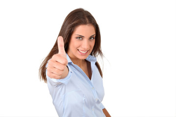 Beautiful woman showing thumbs up