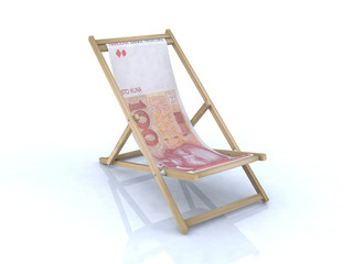 wood beach chair with kuna croatian banknote