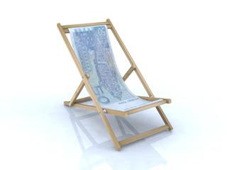 wood beach chair with kuna croatian banknote