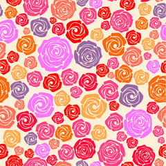 Colorful rose seamless pattern