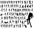 Vector set of 100 very detailed sport woman silhouettes