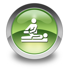 "Green Glossy Pictogram ""Physical Therapy"""