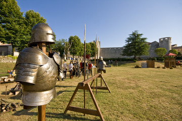 Medival knight`s armour on the tournament