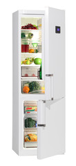 Two door white refrigerator with LCD isolated on white