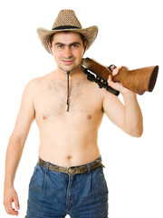 Cowboy on a white background.