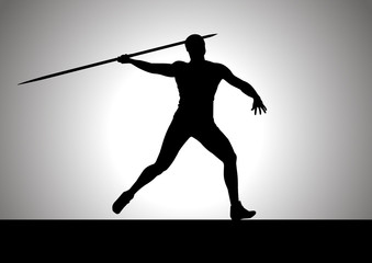 Silhouette illustration of javelin thrower