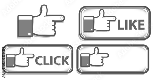 gray hand sign set isolated on white background