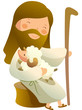 Side view of Jesus Christ sitting with sheep