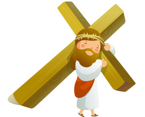 Close-up of Jesus Christ holding cross