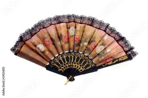 a folding fan patterned flowers cloth