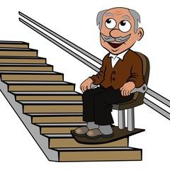 Senior auf dem Treppenlift