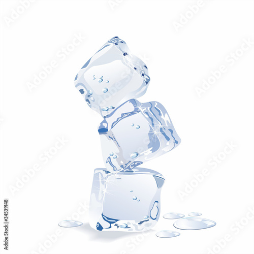 Blue vector ice cubes isolated on white background.