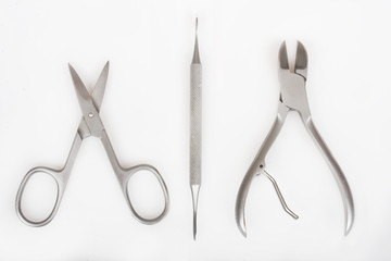 Manicure tools on a white background