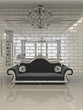 Modern black sofa in royal interior apartment space