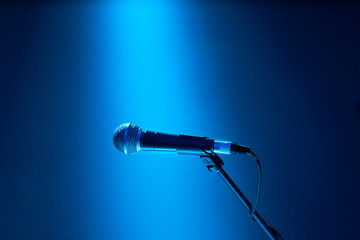 Lone microphone on stage