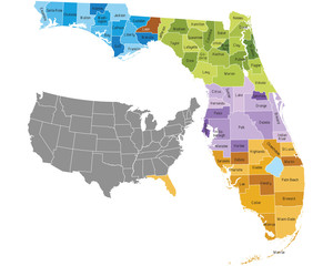 Florida state counties map with boundaries and names