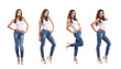 Four young and sexy woman posing in stylish jeans