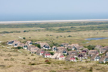 Aerial view of a bungalow park at Ameland, the Netherlands