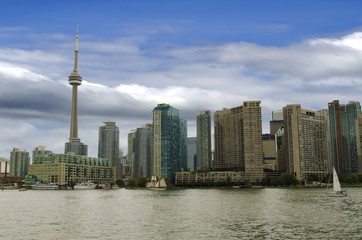 Toronto city skyline with CN tower