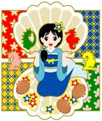 2012年辰年年賀状用イラスト素材(人魚とたつのおとしご)