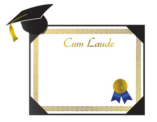 Cum Laude College Diploma with cap and tassel