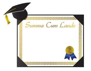 Summa Cum Laude College Diploma with cap and tassel