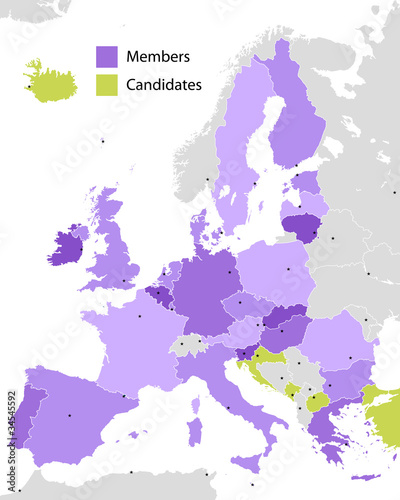 European Union members and candidates, country silhouettes