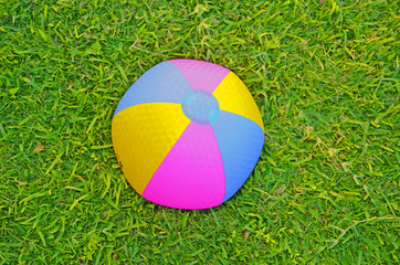 Beach ball in grass