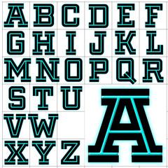 ABC Alphabet background fargo aqua design