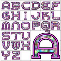ABC Alphabet background neon rainbow design