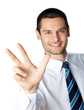 Portrait of businessman showing three fingers, isolated