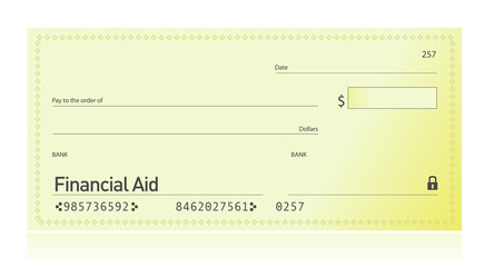 Financial aid check illustration design