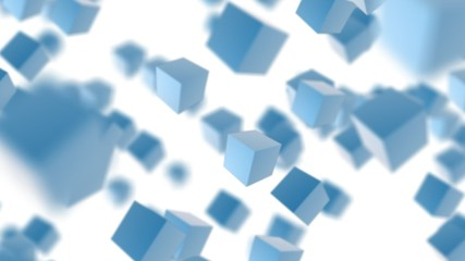 Blue abstract boxes flying hd