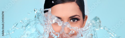 woman's face with splash water