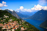 Fototapety Lugano city with the view of lake Lugano