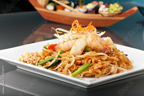 Seafood Pad Thai with Stir Fried Rice Noodles