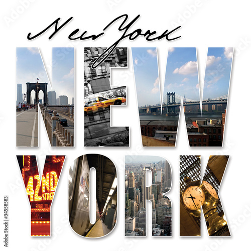 Deurstickers New York TAXI NYC New York City Graphic Montage