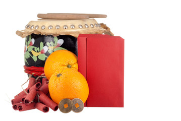 Lucky Coins, Crackers, Oranges, Drum-set and Angpows for Text