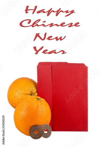 Oranges and Lucky Coins with Blank Ang Pows for your Text
