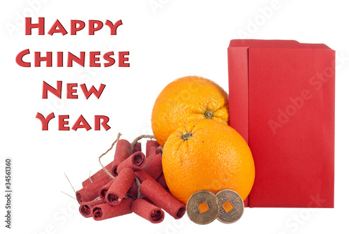 Oranges, Lucky Coins and Crackers w Blank Ang Pows for Text