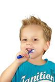 Fototapety 2-jähriger Junge beim Zähne putzen