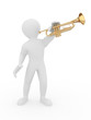 Man with trumpet. 3d