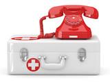 Fototapety Helpline.Services. Phone on medical kit