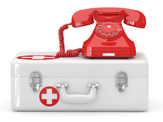 Helpline.Services. Phone on medical kit