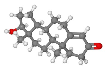 Ball and stick model of testosterone molecule (male sex hormone)