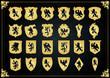 Vintage golden royal coat of arms shields