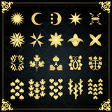 Vintage golden heraldic mythology symbols and elements poster