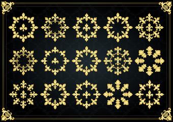 Vintage golden royal lilly elements illustration