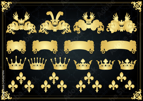 Vintage golden royal coat of arms elements illustration