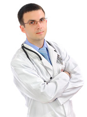 Portrait of medical doctor with cross a hands.